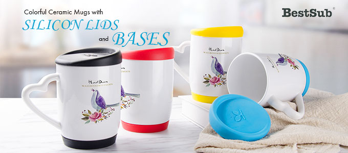 Colorful Ceramic Mugs with Silicon Lids and Bases from BestSub
