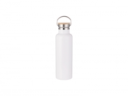 750ml/25oz Portable Bamboo Lid Stainless Steel Bottle (White)