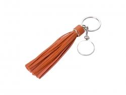 Round Keychain w/ Long Tassel(Red)