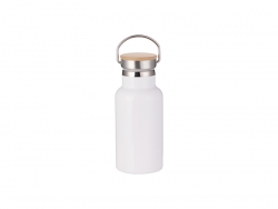 350ml/12oz Portable Bamboo Lid Stainless Steel Bottle (White)