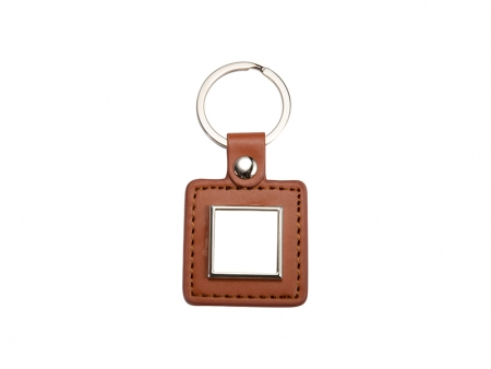 PU Key Chain(Square, Brown)