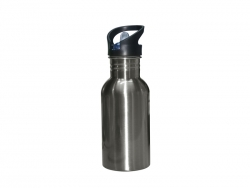 500ml Stainless Steel Water Bottle with Straw Top - Silver