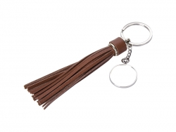 Round Keychain w/ Long Tassel(Brown)