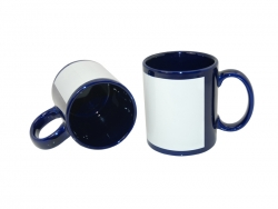 11oz Full Colour Mug with Whtie Patch-Blue