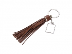 Square Keychain w/ Long Tassel (Brown)