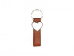 Strip PU Key Chain(Heart, Brown)