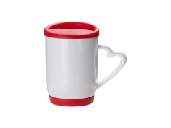 12oz/360ml Ceramic Mug w/ Silicon Lid and Base(Red)