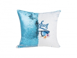 Flip Sequin Pillow Cover (Light Blue w/ White, 40*40cm)
