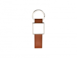 Strip PU Key Chain(Square, Brown)