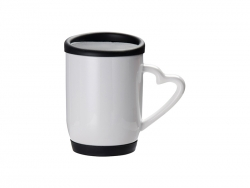 12oz/360ml Ceramic Mug w/ Silicon Lid and Base(Black)