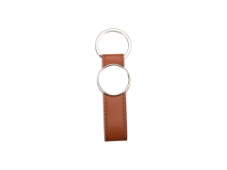 Strip PU Key Chain(Round, Brown)