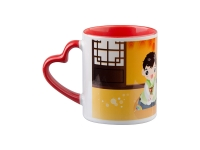 11oz Inner Rim Color Mug with Heart Handle