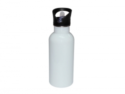 600ml Stainless Steel Water Bottle with Straw Top - White