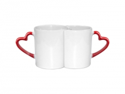 11oz Couple Mugs w/ Red Heart Handle