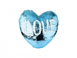 Heart Shaped Sequin Pillow Cover (Light Blue w/ White, 39*44cm)