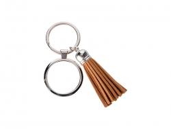 Round Keychain w/ Short Tassel(Brown)