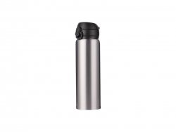 500ml/17oz Pop Lid Stainless Steel Bottle (Silver)