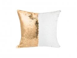 Flip Sequin Pillow Cover (Gold w/ White, 40*40cm)