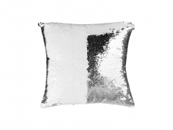 Flip Sequin Pillow Cover (White w/ Silver)
