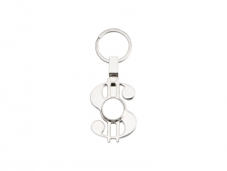 Fidget Spinner Key Ring (Dollar Shape, Silver)