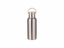 500ml/17oz Portable Bamboo Lid Stainless Steel Bottle (Silver)