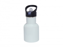 400ml Stainless Steel Water Bottle with Straw Top - White