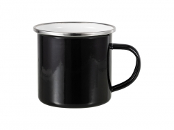 12oz Enamel Mug w/ Flat Bottom-Black