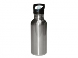 600ml Stainless Steel Water Bottle with Straw Top - Silver