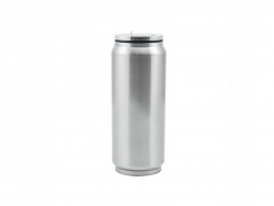 17oz Stainless Steel Coke Can with Straw(Silver)