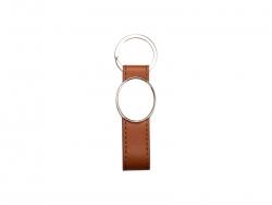 Strip PU Key Chain(Oval, Brown)