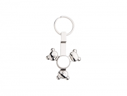 Fidget Spinner Key Ring (Panda, Silver)