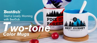 Start a Lovely Morning with BestSub Two-tone Color Mugs