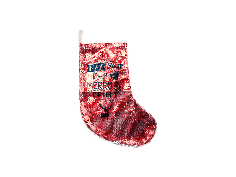 Sequin Christmas Stocking Red Silver 18 53cm Bestsub