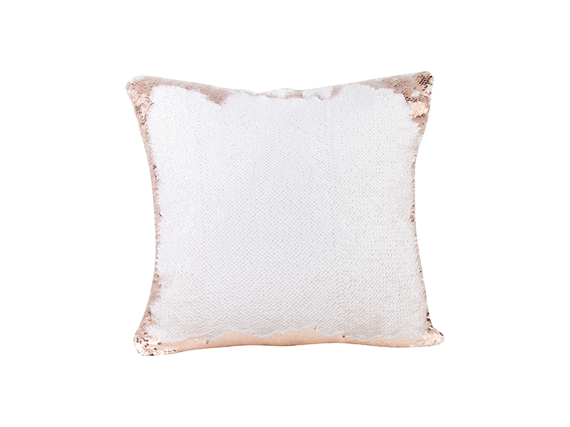 Flip Sequin Pillow Cover Champagne W White 40 40cm