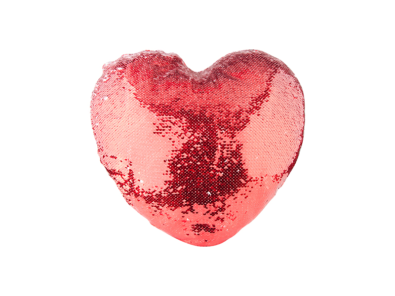 Heart Shaped Sequin Pillow Cover Red W White 39 44cm