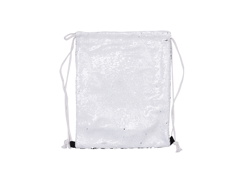 Sequin Drawstring Backpack White Silver 36 45cm