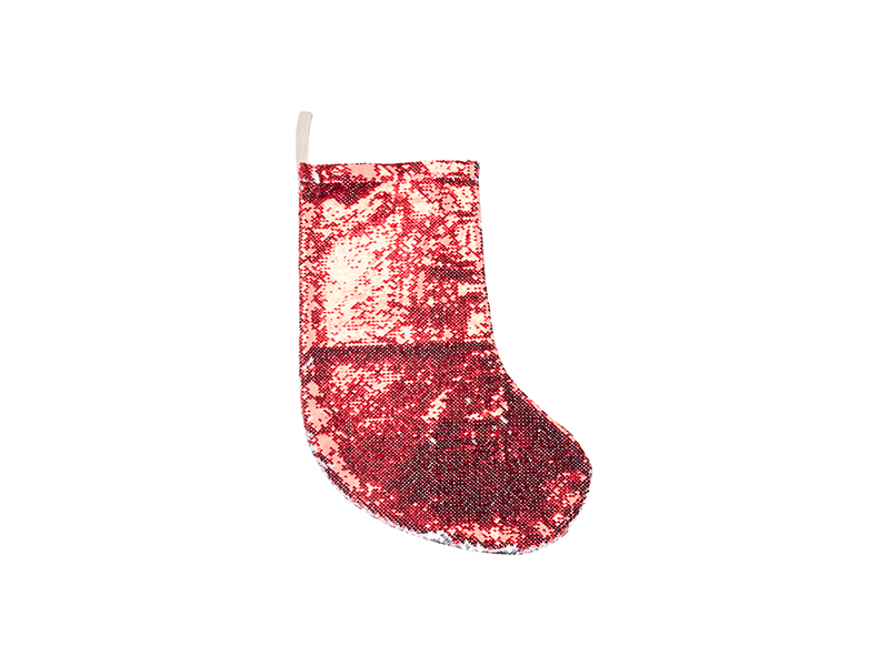 Sequin Christmas Stocking (Red/Silver, 18*53cm) - BestSub