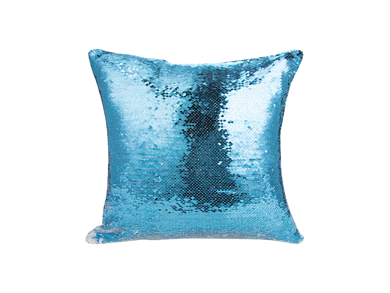 Flip Sequin Pillow Cover Light Blue W White 40 40cm