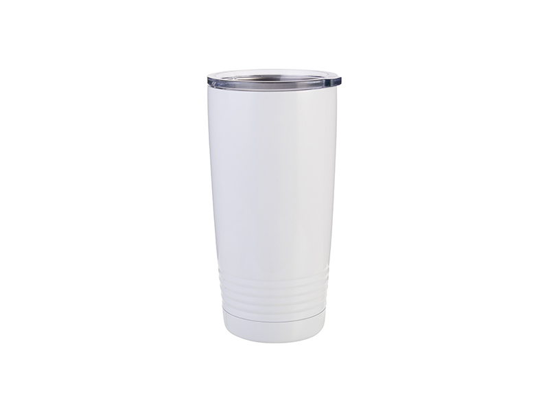 20oz Stainless Steel Tumbler With Ringneck Grip White