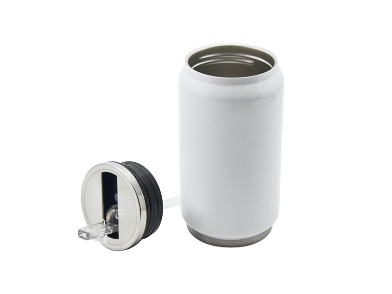 12oz Stainless Steel Coke Can With Straw White Bestsub