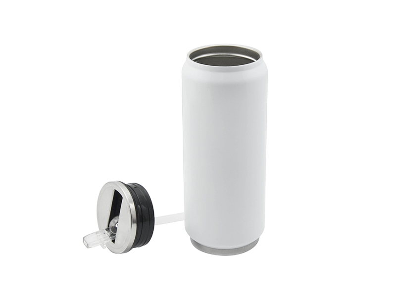 12oz 350ml Stainless Steel Coke Can With Straw White