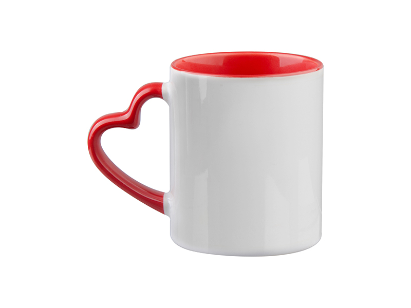 11oz Inner Rim Color Mug With Heart Handle Bestsub