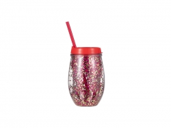 10oz/300ml Double Wall Clear Plastic Stemless Cup (Red, w/ Red & Gold Glitters)