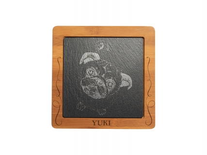 Bamboo Cutting Board w/ Slate Inlay (Square, 19*19cm)