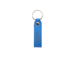 Laser Engraving PU Leather Keychain (Handle,Medium Blue)