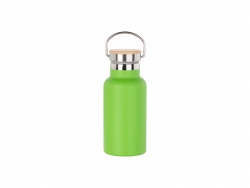350ml/12oz Portable Bamboo Lid Powder Coated Stainless Steel Bottle (Green)