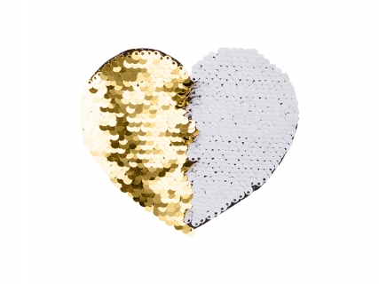 Flip Sequins Adhesive Black Base (Heart, Gold W/ White)