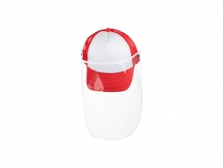 Sublimation Kids Mesh Cap w/ Removable Face Shield (Red)
