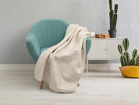 "Arctic Fleece Lined Sublimation Leathaire Blanket(White/Beige, 127*152cm/50""x 60"")"