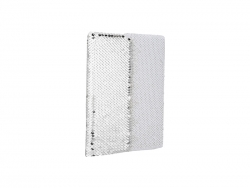 A5 Sequin Notebook (Silver W/ White)